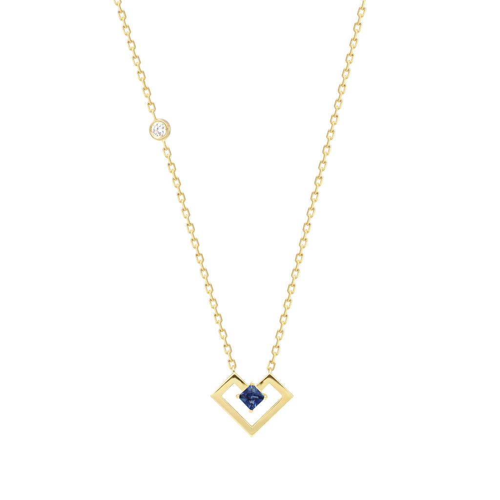 Heart Of Gold Necklace, Sapphire, Yellow Gold