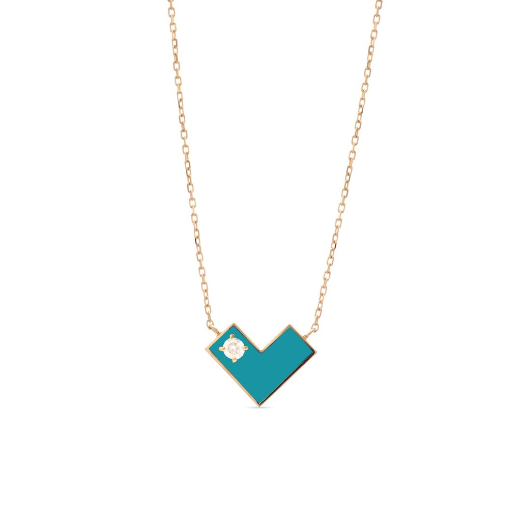 Heart Of Gold Necklace With Turquoise Enamel & Diamond