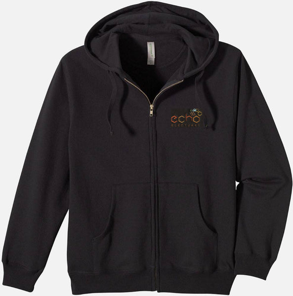 Embroidered Black Hooded Echo Electuary Sweatshirt Full Zipper