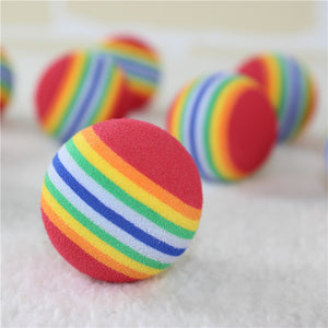 Rainbow Colorful Rubber Pet Ball Toy - The Dog House