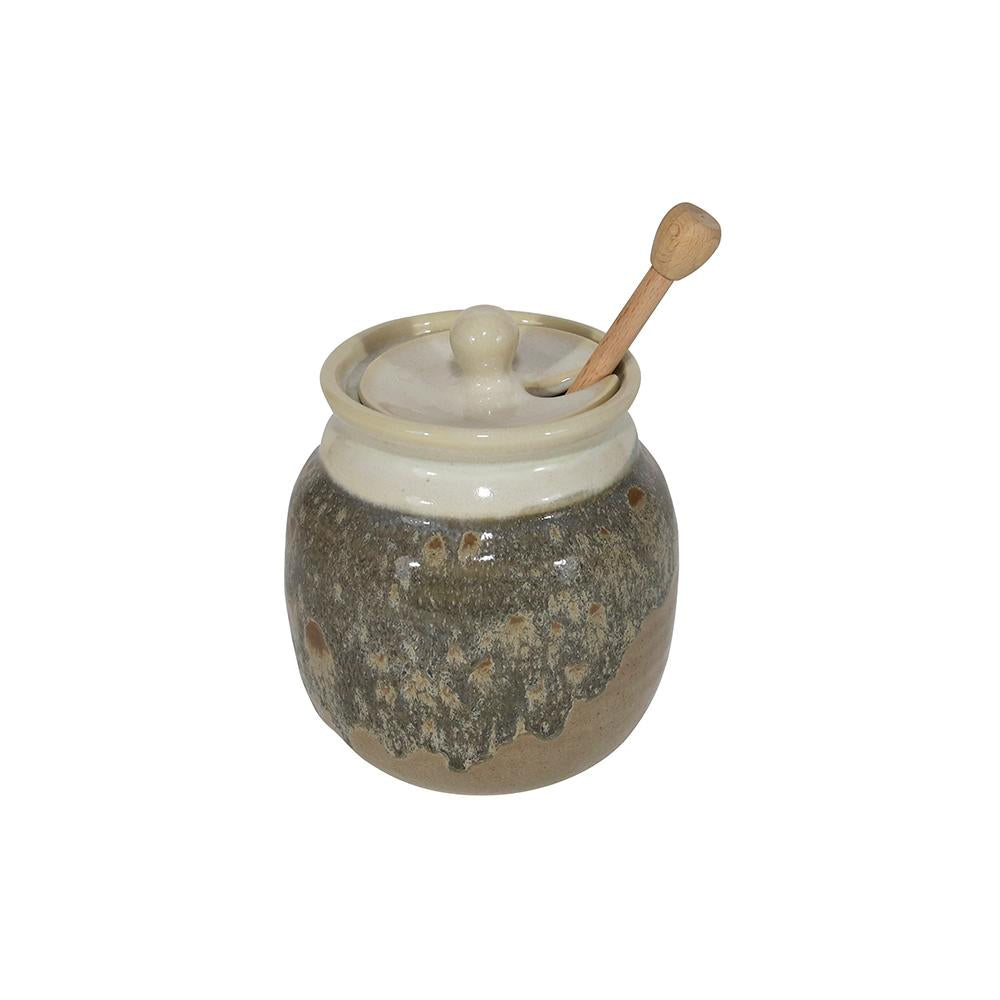 Handmade Ceramic Honey Pot With Stick/Dipper (Pot Dipper)