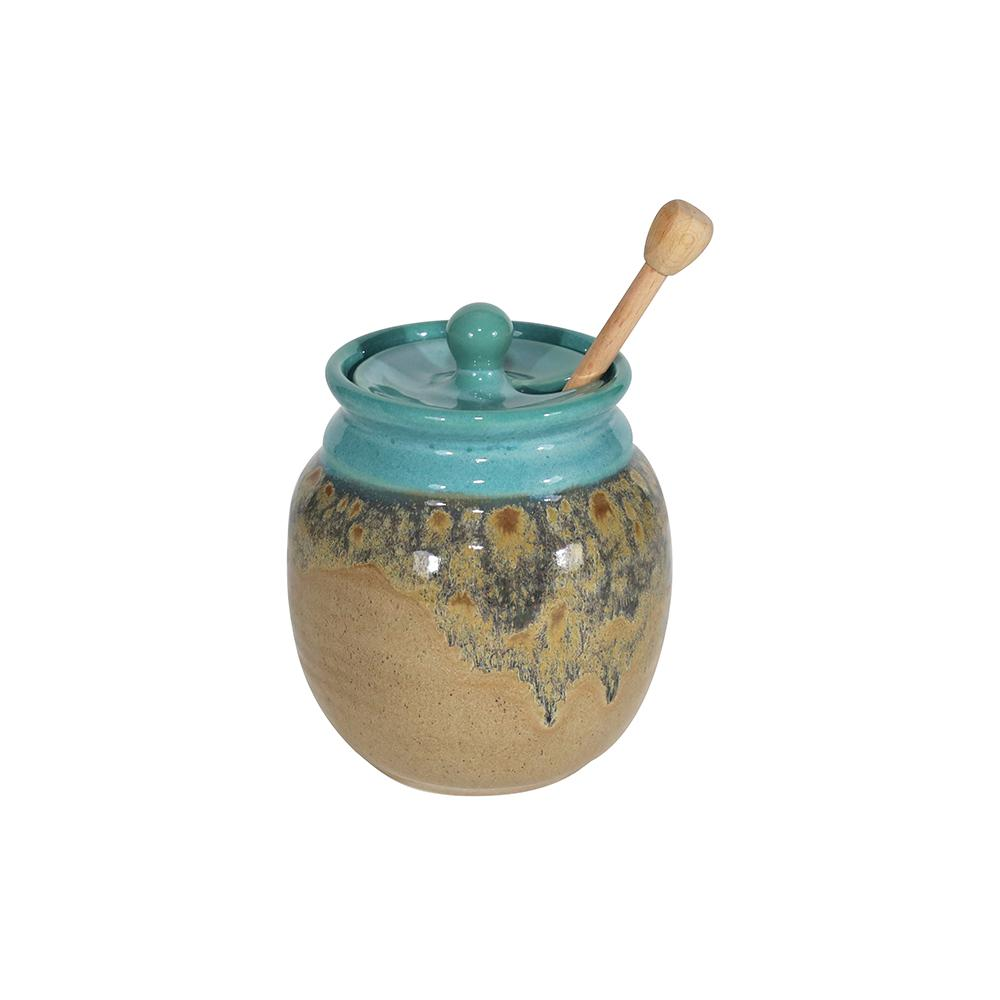 Handmade Ceramic Honey Pot With Stick/Dipper (Pot Dipper)-9