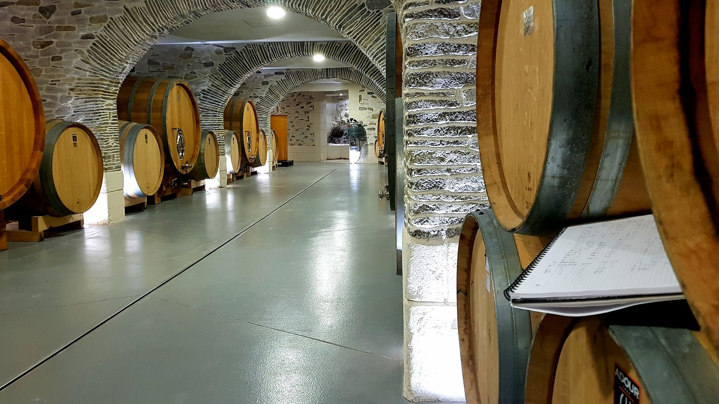 Chateau Estanilles aging cellar oak barrel oak vats grand vin organic wine languedoc AOP faugères