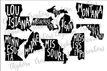 Load image into Gallery viewer, state name cut out, united states svg, printable state,
