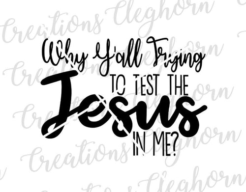 why y'all trying to test the jesus in me? humor christian quotes car decal shirt funny