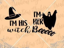 Load image into Gallery viewer, I'm his witch, I'm her boo, halloween svg couple tshirt matching