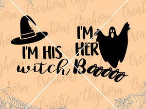 I'm his witch, I'm her boo, halloween svg couple tshirt matching