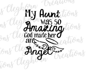 rip aunt, my aunt was so amazing, in memory of aunt, memorial svg