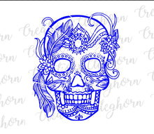 Load image into Gallery viewer, sugar skull svg feather mandala adult coloring page