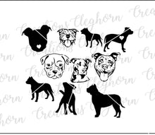 Load image into Gallery viewer, pitbull silhouette vector clipart svg dog lover pitbull lover