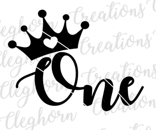 One with Crown Svg, First birthday princess
