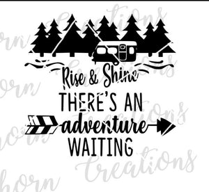 rise and shine, there's an adventure waiting, happy camper, rv living, travel trailer svg rv camper decor