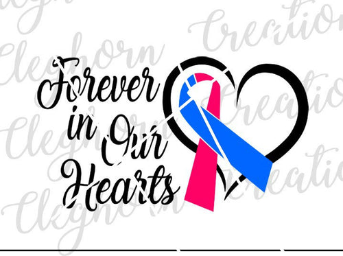 forever in our hearts misccarriage awareness infant loss ribbon svg