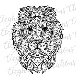 mandala lion head svg clipart coloring page