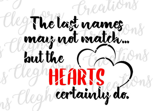 Last names don't match, but hearts certainly do, blended families svg