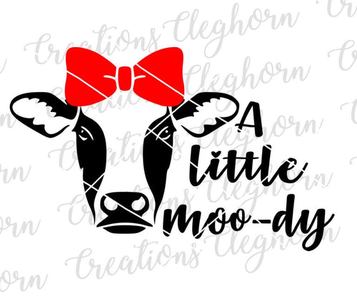a little moo-dy funny cow svg cute cow bow