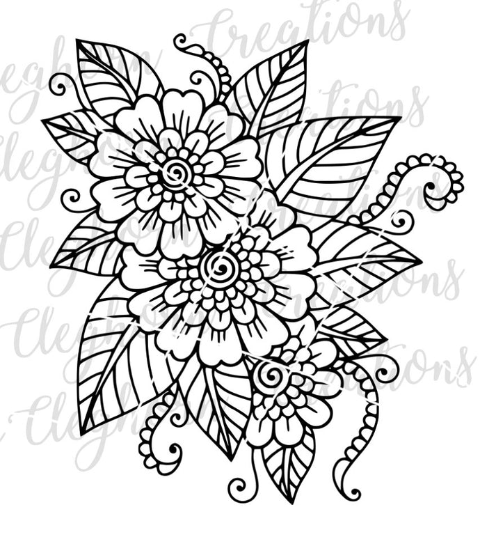 Flowers adult coloring page, mandala flowers, printable cutting file