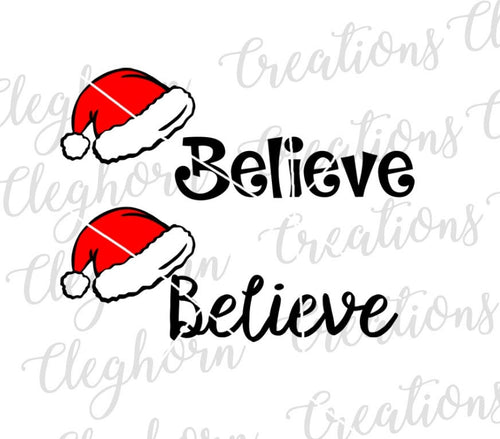santa hat believe christmas svg