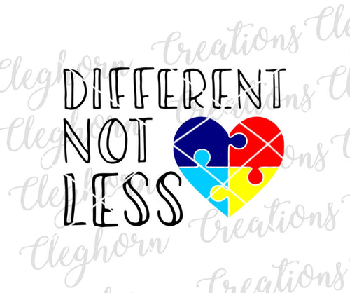 Autism Different Not Less Puzzle Piece Heart svg