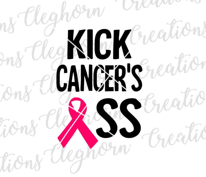 kick cancer's ass beat cancer svg cancer awareness