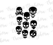 Load image into Gallery viewer, skull silhouette skull vector skull clipart day of the dead halloween skeleton svg