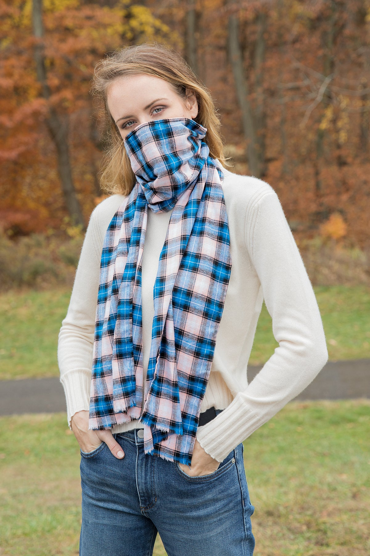 Plaid Scarves with Hidden Pocket