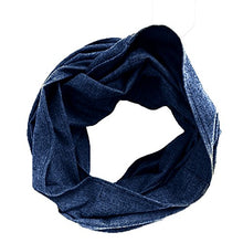LENI - Navy and Black Herringbone Infinity Scarf