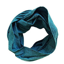 LENI - Teal and Black Herringbone Infinity Scarf