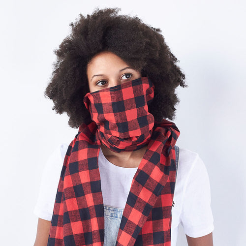 BEAR - Red and Black Checkered Flannel