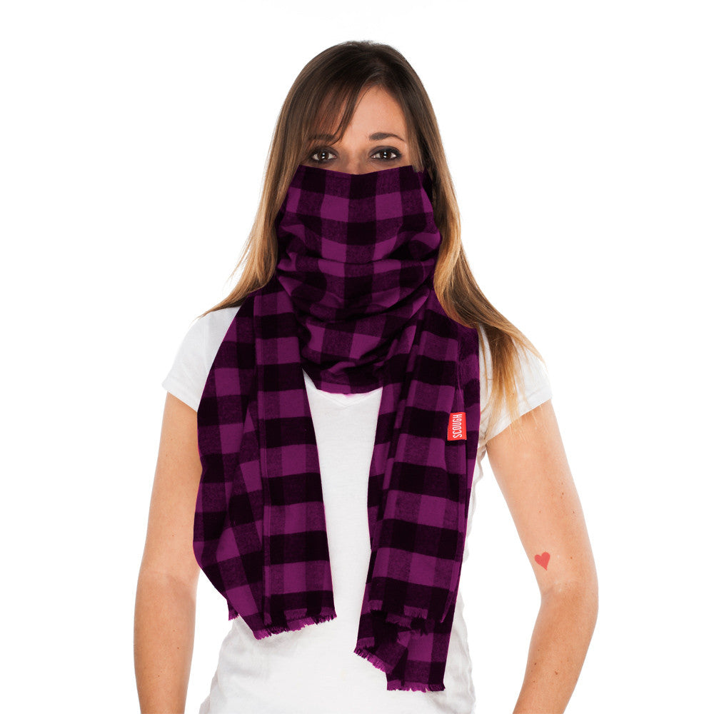 BEAR - Purple and Black Checkered Flannel