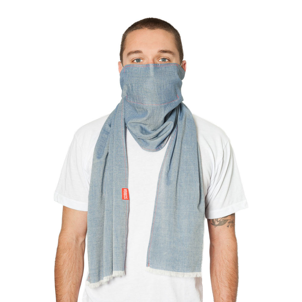 KNOX SCOUGH - Blue Lightweight Cotton Chambray Scarf