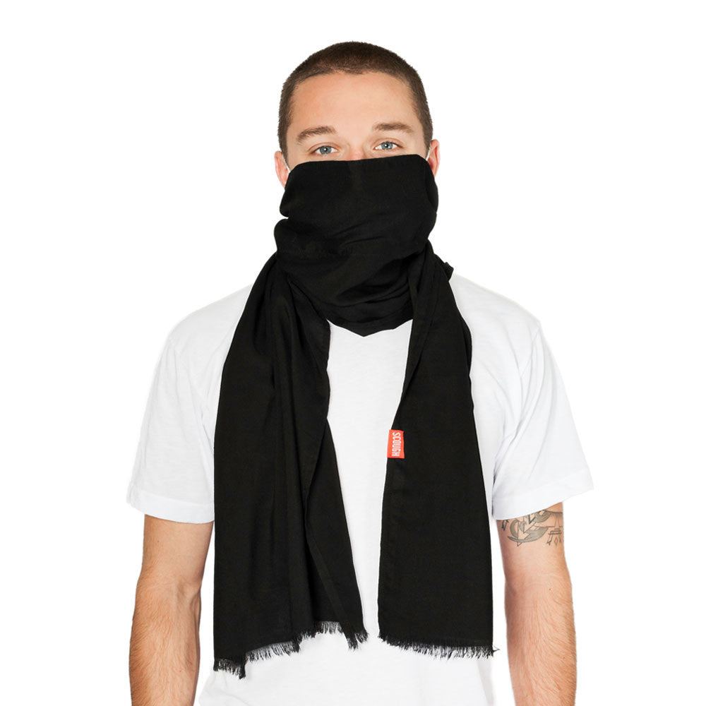ZEPHYR SCOUGH - Solid Black Lightweight Rayon Scarf