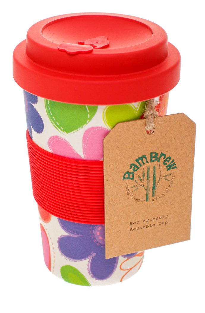 Reusable bamboo coffee cup - Love Bug, red