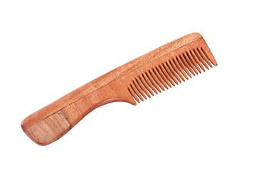 Handmade wooden comb with handle, made from neem wood.