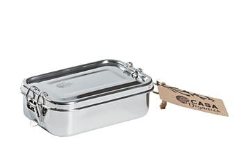 Snack box with clip – stainless steel.