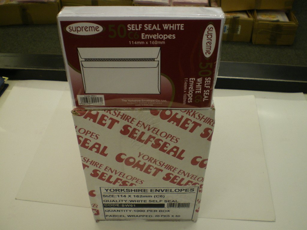 COMET WHITE C6 SELF-SEAL ENVELOPES.