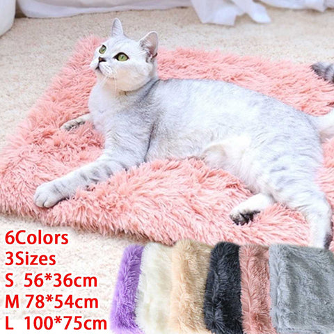 Fluffy Long Plush Pet Blankets Cat Bed Mats Deep Sleeping Soft Thin Covers for Summer Winter Bed Use Blankets Cat Mattress