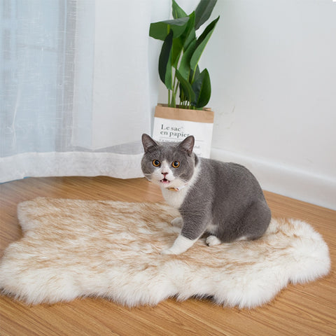 Cat mattress curve white carpet artificial fur orthopedic cat bed