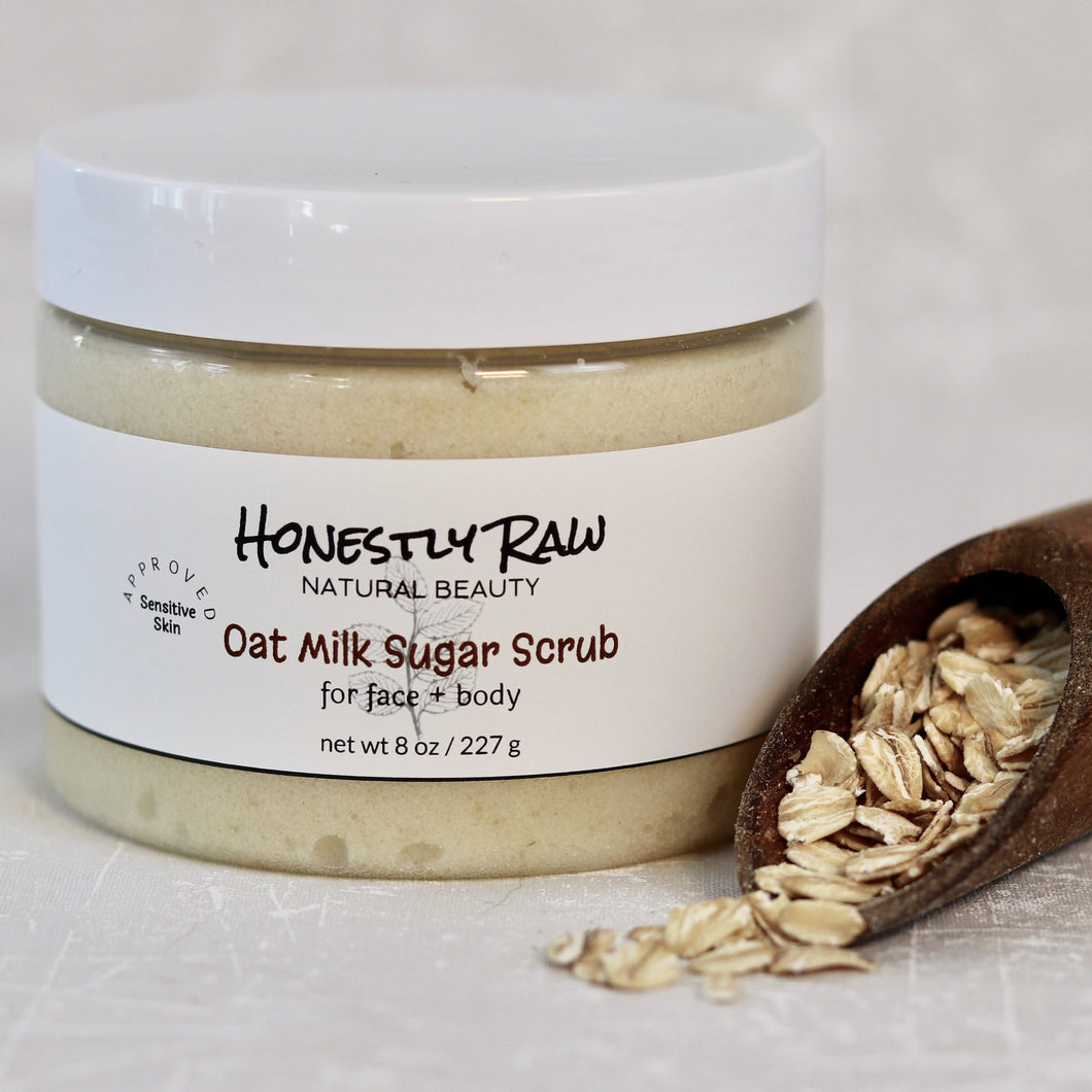 Oat milk sugar scrub jar with oats in wood spoon