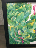 Watercolor Succulent Painting with Greens and Yellows and Burst of Pink