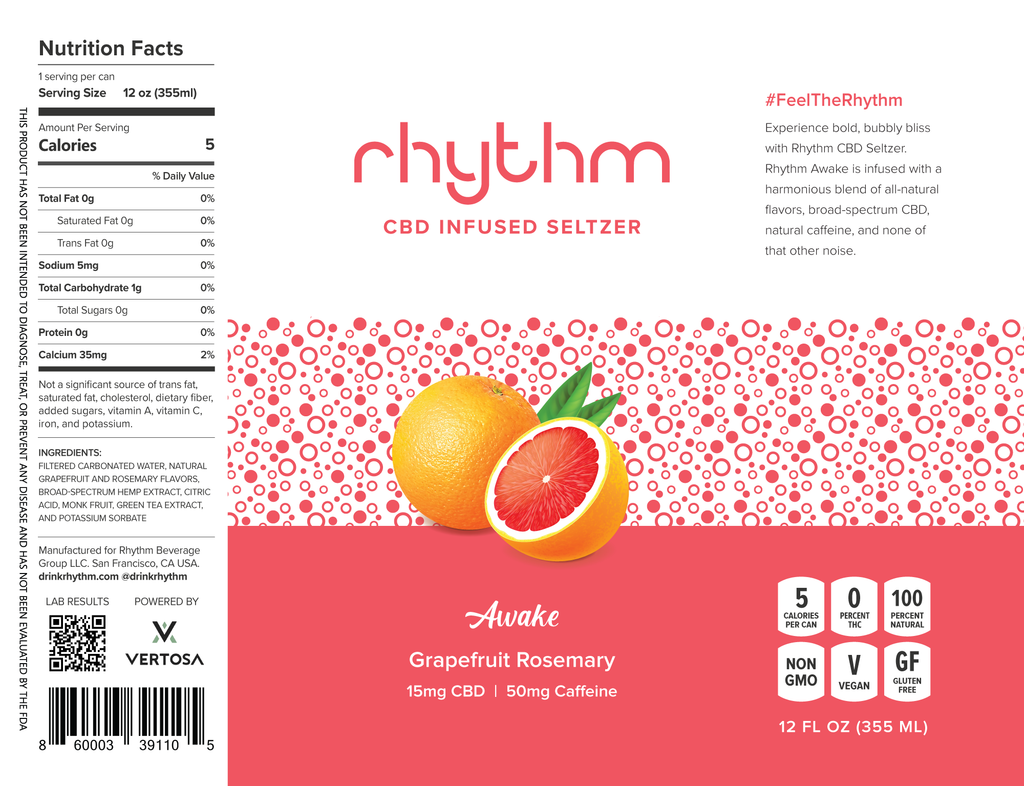 Rhythm Awake CBD Energy Drink Label