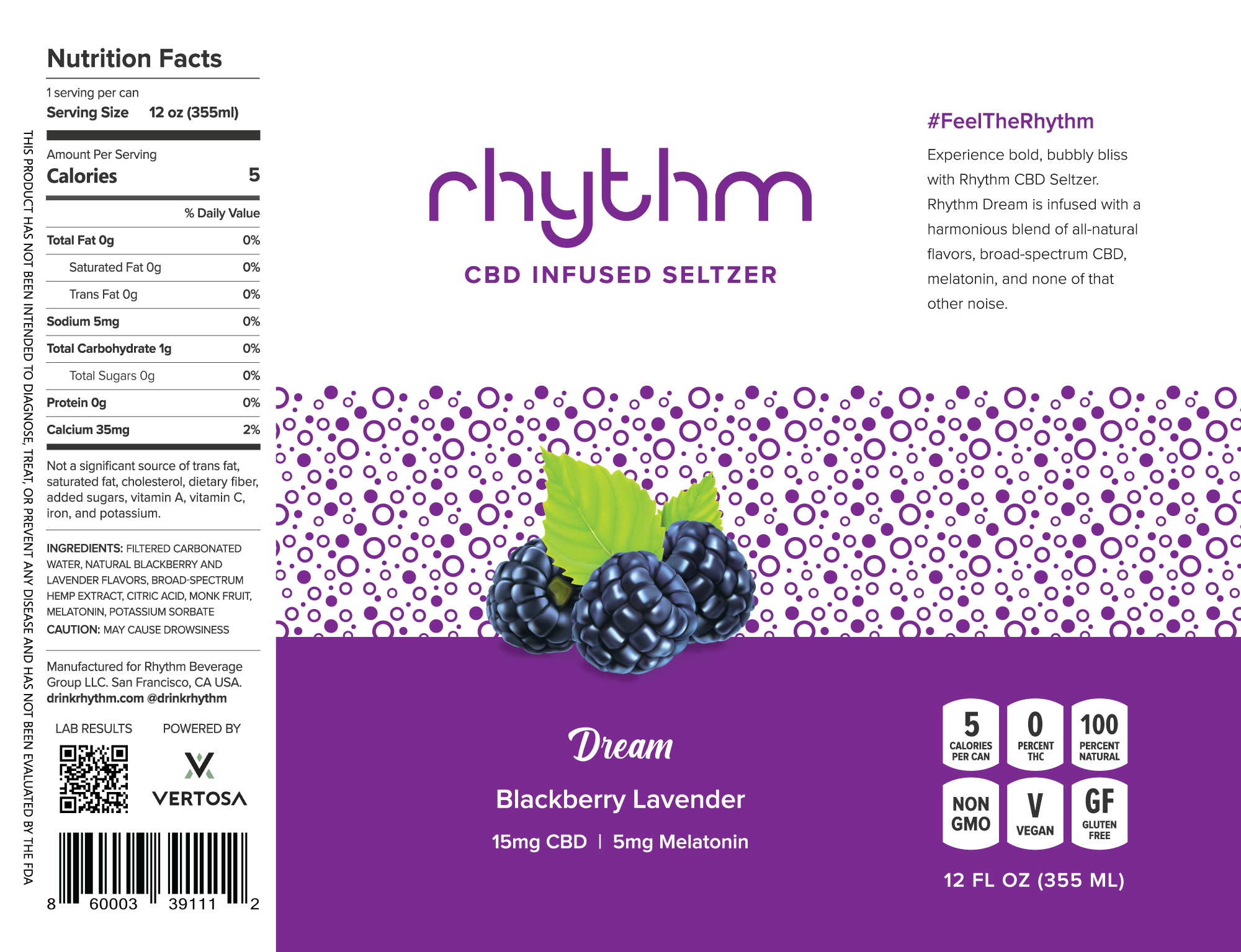 Rhythm Dream CBD Sleep Aid Drink Can Label