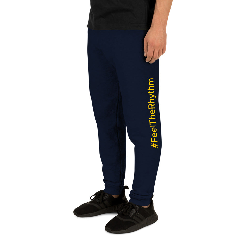 Man with Rhythm blue joggers yellow text