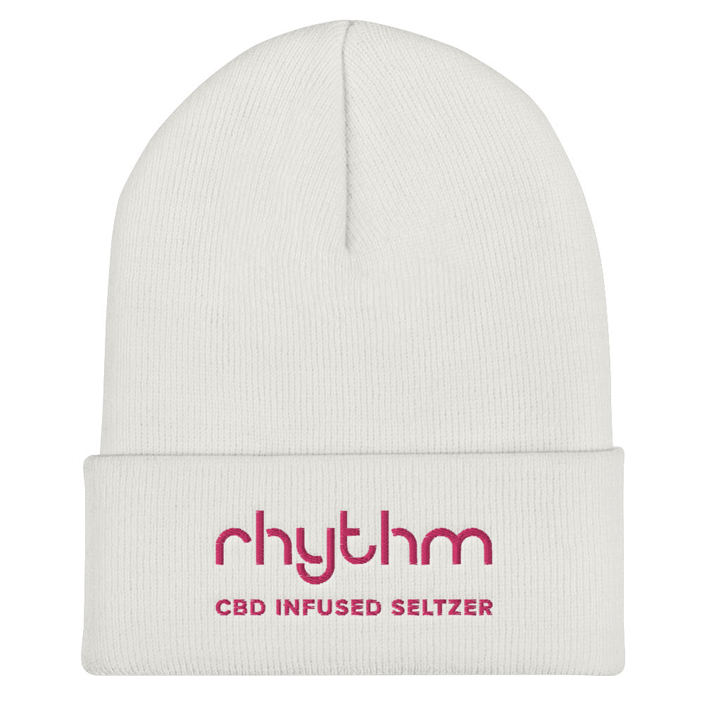 Rhythm Women's Cuffed Beanie White with Pink Logo