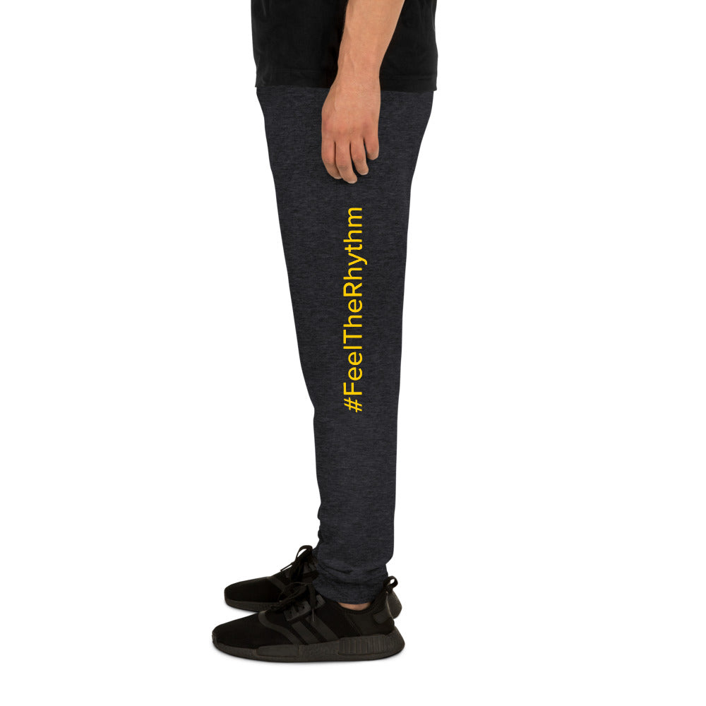 Man with Rhythm grey joggers yellow text