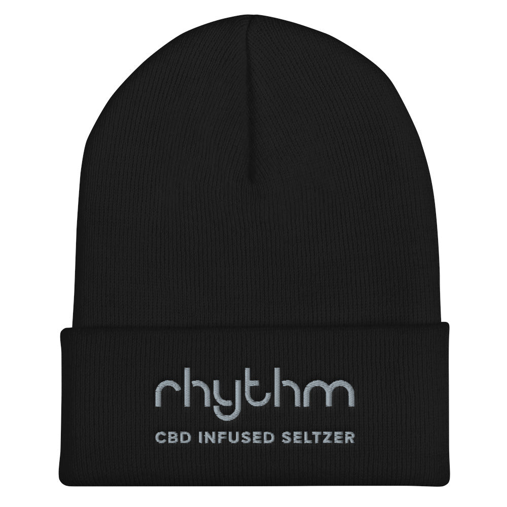 Front view of Rhythm CBD Seltzer cuffed black cuffed beanie