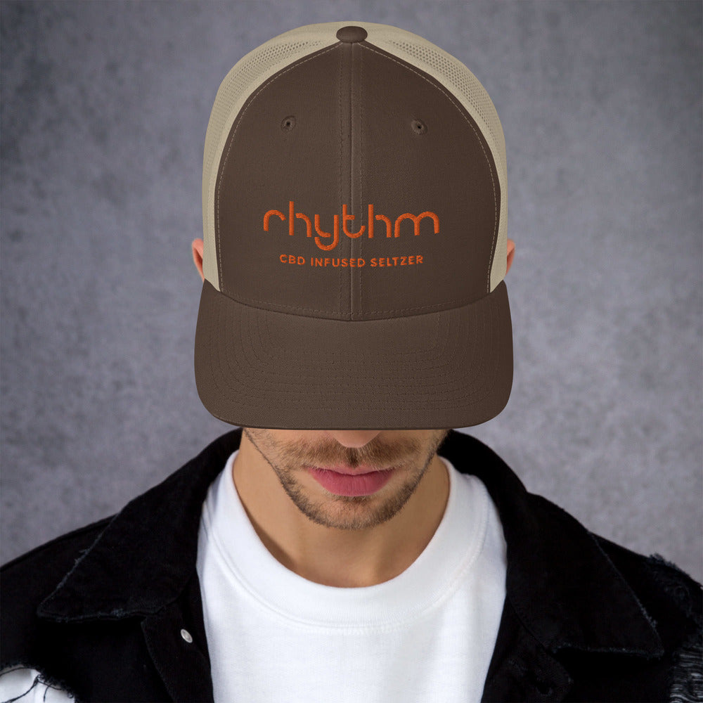 Rhythm Trucker Cap - Brown or Blue with Orange Logo