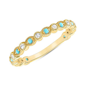 YELLOW GOLD WITH TURQUOISE DIAMOND BAND - MICHAEL K. JEWELERS