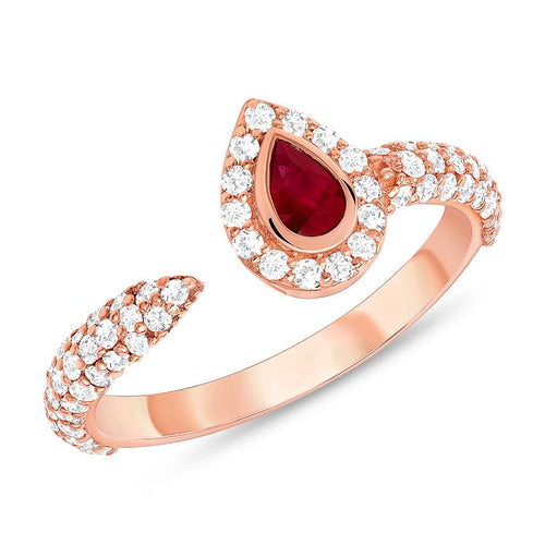 ROSE GOLD RUBY AND DIAMOND RING - MICHAEL K. JEWELERS