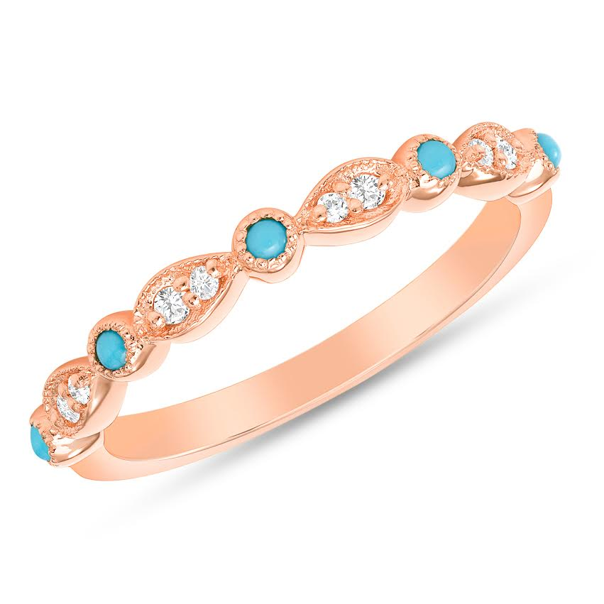 ROSE GOLD WITH TURQUOISE AND PEAR SHAPED DIAMOND BAND - MICHAEL K. JEWELERS
